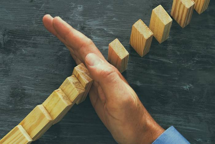 Hand stopping wooden blocks